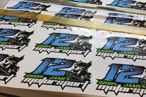 Chris James Motorsport signage stickers